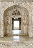 Dekorujący marmurowy drzwi przy Agra fortu pałac i ściana Fotografia Royalty Free