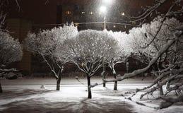 Dekorujący miasto dla nowy rok wakacji pięknych Iluminacji łuny zdjęcie stock