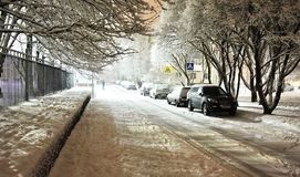 Dekorujący miasto dla nowy rok wakacji pięknych Iluminacji łuny obrazy royalty free