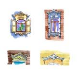 Dekorujący okno, antykwarscy drewniani rzeźbiący platbands i żaluzje ilustracji