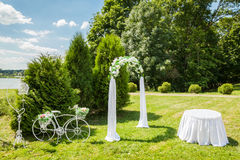 Dekorujący Romantyczny ślubu miejsce Fotografia Stock