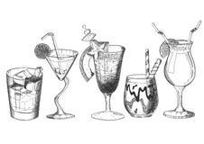 Dekorujący tropikalny egzotyczny alkoholu koktajlu set zdjęcia royalty free