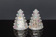 Dekorujący wakacyjni krystaliczni drzewni solankowi i pieprzowi potrząsacze zdjęcie stock