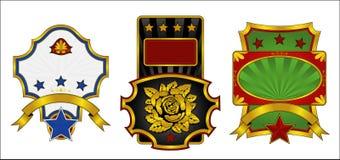 dekorujący złoto przylepiać etykietkę trzy Ilustracji