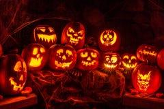 Dekorująca Halloweenowa Dyniowa scena Obrazy Royalty Free
