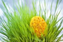 Dekorujący Easter jajko w trawie Obraz Stock