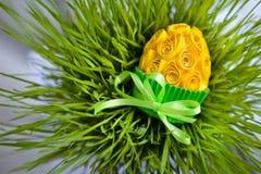 Dekorujący Easter jajko w trawie Obrazy Stock