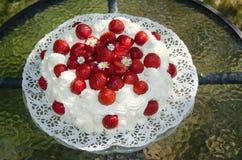 Dekorujący truskawka tort Obraz Stock