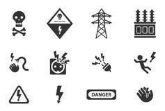 Del alto voltaje iconos simplemente Fotografía de archivo