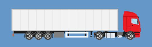 Del anuncio publicitario camión grande semi con el remolque Camión de remolque en estilo plano aislado libre illustration