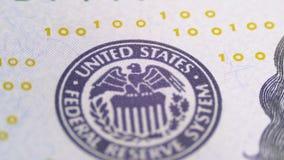 Del av de 100 USA-räkningarna, sikt på printingtyp av Förenta staterna, det Federal Reserve systemet lager videofilmer