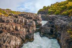 Del av den Barnafoss vattenfallet i floden Hvita iceland royaltyfri fotografi
