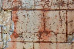 Del av den förstörda stuckaturväggen Närbild Fotografering för Bildbyråer