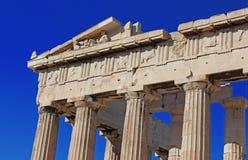 Del av den forntida parthenonen, Aten, Grekland Arkivfoton