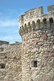 Del av den gammala fästningen för tegelsten- och stenväggvägg Arkivfoton