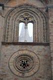 Del av den högra väggen av domkyrkan av kräm i landskapet av Cremona i Lombardy (Italien) royaltyfri fotografi