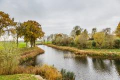 Del av den historiska holländska försvarlinjen, Nieuwe Hollandse Waterlinie, royaltyfria bilder