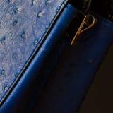 Del av den kvinnliga handväskan med präglat under huden av strutsen, närbild För mörk bakgrund bakgrund, substrate Royaltyfri Bild
