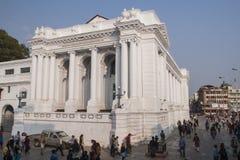 Del av den tidigare presidentpalatset på den Durbar fyrkanten i Kathm Arkivbilder