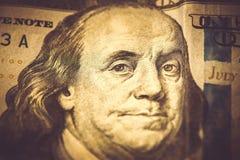 Del av 100 dollar, makroskott, Benjamin Franklin Arkivfoto