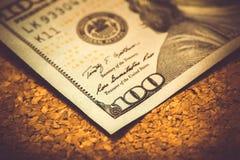 Del av 100 dollar, makroskott, Benjamin Franklin Arkivfoton