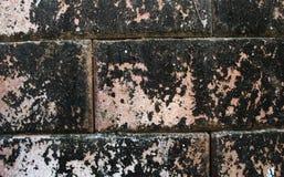 Del av en gammal och smutsig riden ut tegelstenvägg i rött och brunt royaltyfria bilder