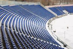 Del av en snow-covered stadion Arkivfoton