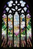 Del av ett kyrkligt fönster i Sts David domkyrka Hobart, Tasmanien Arkivfoton