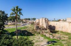 Del av fästningväggen i Akko, Israel fotografering för bildbyråer