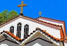 Del av fasaden av den gamla ortodoxa kyrkan i Grekland Royaltyfria Bilder