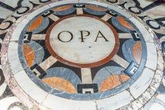 Del av golvet av domkyrkan Santa Maria del Fiore Duomo Arkivbilder