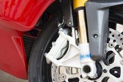Del av hjulet av testastrettaen för Ducati Superbike 999s Arkivbild