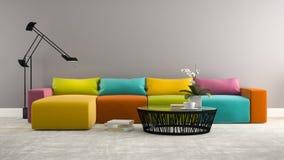 Del av inre med den moderna färgrika tolkningen för soffa 3d Royaltyfri Foto