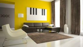 Del 5 av inre med gula väggar Arkivfoton