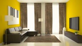 Del av inre med gula väggar Fotografering för Bildbyråer
