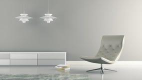 Del av inre med vita lampor och tolkningen för fåtölj 3D royaltyfri illustrationer