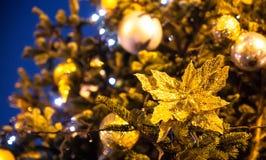 Del av julgranen Dekorerat med gula brytningar royaltyfria foton