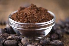 Del av kakaopulver Arkivbilder