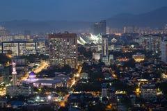 Del av Kuala Lumpur Skyline på natten royaltyfri bild