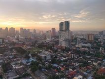 Del av Kuala Lumpur Skyline på solnedgången arkivfoto