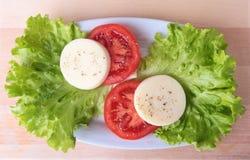 Del av mozzarellaen med tomater, grönsallatbladet och den Balsamic dressingen på den vita plattan närbildskott för selektiv fokus Fotografering för Bildbyråer