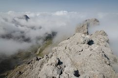 Del av panorama via den Ferrata rutten i de Lienz dolomitesna, Österrike Royaltyfri Fotografi