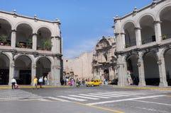 Del av plazaen de Armas i Arequipa, Peru Royaltyfria Bilder