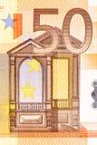 Del av räkningen för euro 50 på makro Fotografering för Bildbyråer