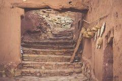 Del av slotten av Ait Benhaddou, en stärkt stad, formen Fotografering för Bildbyråer