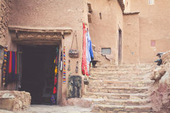 Del av slotten av Ait Benhaddou, en stärkt stad, formen Royaltyfri Foto