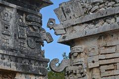 Del av templet av lättnader i Chichen Itza Royaltyfri Fotografi