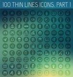 Del 1 av tunna linjer bakgrund för samling för begrepp för pictogramsymbol fastställd Vektormalldesign för rengöringsduk och mobi vektor illustrationer