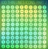 Del 2 av tunna linjer bakgrund för samling för begrepp för pictogramsymbolsuppsättning Vektormalldesign för rengöringsduk och mob stock illustrationer