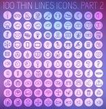 Del 2 av tunna linjer pictogramsymbolsuppsättning för samling Royaltyfri Fotografi